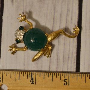 vintage rhinestone jelly belly frog brooch pin